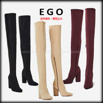 EGO Plain Block Heels Elegant Style Over-the-Knee Boots