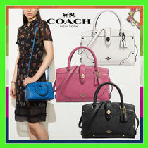 Coach MERCER Grained Leather Satchel 24 Handbag(Chalk/Rouge/Black)