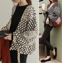 Dots Puff Sleeves Cardigans