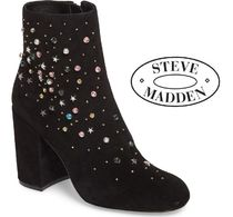 Steve Madden Star Round Toe Casual Style Suede Street Style Block Heels