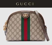 GUCCI Monoglam Casual Style Bi-color Leather Handmade