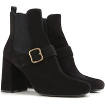 PRADA Square Toe Suede Chelsea Boots Chunky Heels