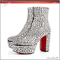 Christian Louboutin Dots Platform Plain Toe Suede With Jewels Elegant Style
