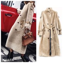 Casual Style Faux Fur Blended Fabrics Plain Long