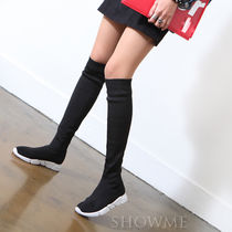 Platform Round Toe Casual Style Plain Flat Boots