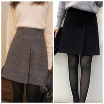 Short Casual Style Wool Plain Skirts