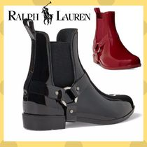 POLO RALPH LAUREN Round Toe Rubber Sole Plain PVC Clothing Elegant Style