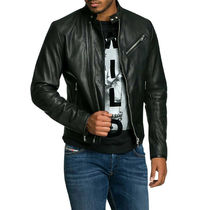 DIESEL Short Plain Leather Biker Jackets