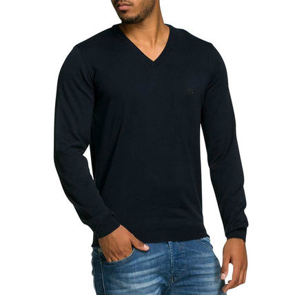 Pullovers V-Neck Long Sleeves Plain Cotton Knits & Sweaters