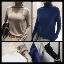 Long Sleeves Plain Medium Angola Office Style Turtlenecks