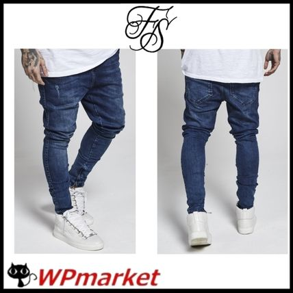 Plain Cotton Skinny Fit Jeans & Denim