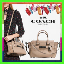 Coach SWAGGER Stone Beige Mixed Leather 27 Handbag