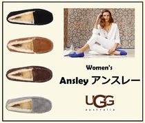 UGG Australia ANSLEY Round Toe Casual Style Sheepskin Plain Loafer Pumps & Mules