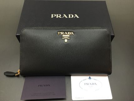 PRADA Unisex Plain Leather Long Wallet  Logo Long Wallets