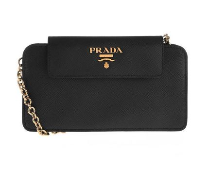 Black Leather Flap Wallet On A Chain Shoulder Bag