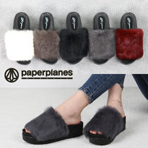 Open Toe Rubber Sole Casual Style Fur Plain Slippers Shoes