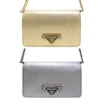 PRADA Metallic Leather Chain Shoulder Bag (Gold/Silver)