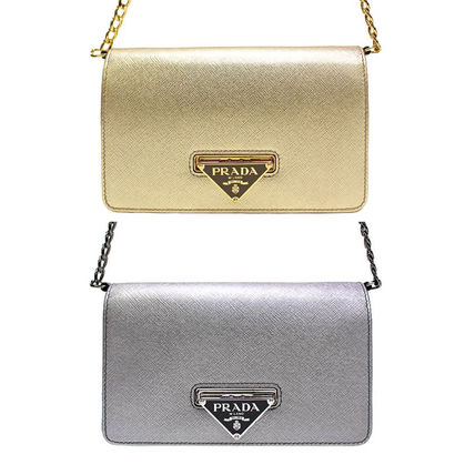 Metallic Leather Chain Shoulder Bag (Gold/Silver)