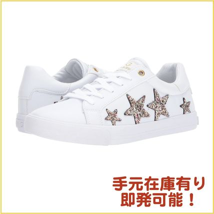 Star Round Toe Faux Fur Plain Low-Top Sneakers