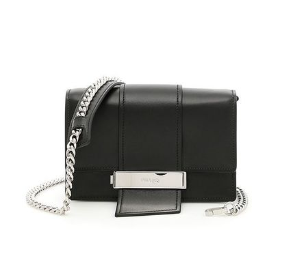 Black Leather Plex Ribbon Chain Shoulder Bag