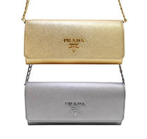 PRADA Metallic Leather Wallet On A Chain Shoulder Bag(Gold/Silver)