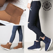 Round Toe Rubber Sole Casual Style Plain