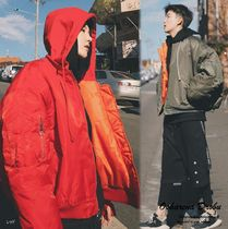 Short Street Style Plain Windbreaker Oversized