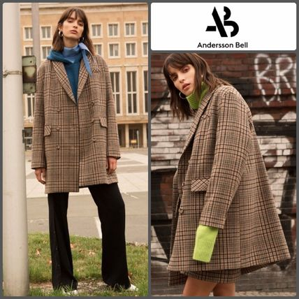 Other Check Patterns Wool Medium Office Style Oversized