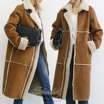 Plain Long Fur Leather Jackets Cashmere & Fur Coats