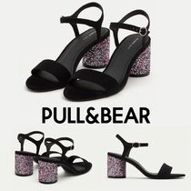 PULL & BEAR Suede Plain Block Heels Party Style Home Party Ideas