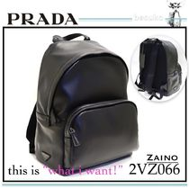 PRADA Calfskin A4 Plain Backpacks