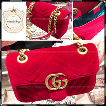 GUCCI Red Velvet Mini GG Marmont Flap Shoulder Bag
