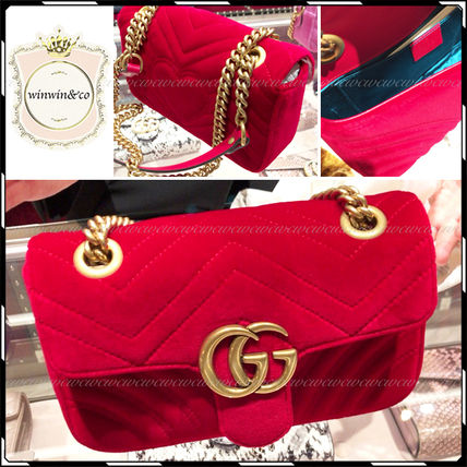 Red Velvet Mini GG Marmont Flap Shoulder Bag