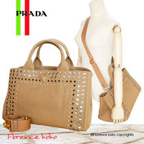 PRADA CANAPA Tabacco Brown Jewel Embellished Canapa Tote Bag