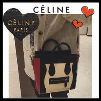 CELINE Luggage Casual Style Calfskin 2WAY Bi-color Plain Shoulder Bags