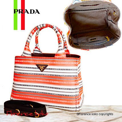 Arancio Orange Striped Canapa Jacquard Tote Bag