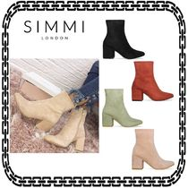 SIMMI Casual Style Suede Plain Block Heels Ankle & Booties Boots