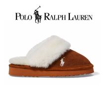POLO RALPH LAUREN Round Toe Rubber Sole Casual Style Suede Plain Slippers