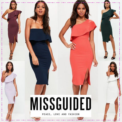 Tight Plain Medium Midi Dresses