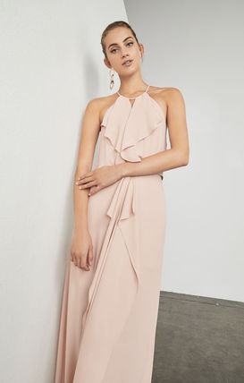 Maxi Sleeveless Halter Neck Plain Long Dresses
