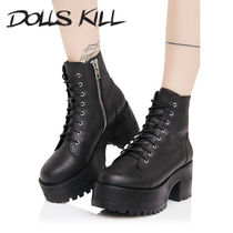 DOLLS KILL Round Toe Lace-up Lace-up Boots