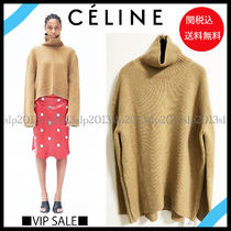 CELINE Cashmere Blended Fabrics Long Sleeves Plain Medium Oversized