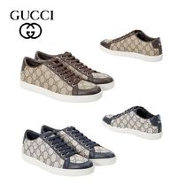 GUCCI Monoglam Round Toe Casual Style Leather Low-Top Sneakers
