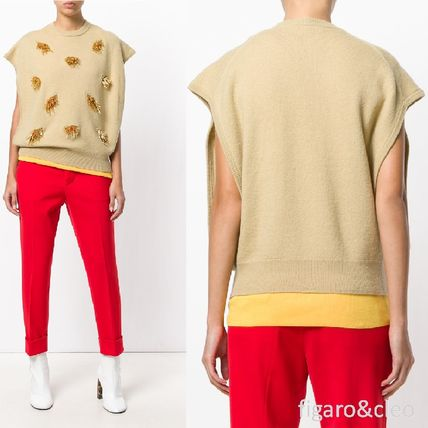 Short Casual Style Wool Blended Fabrics With Jewels Cropped