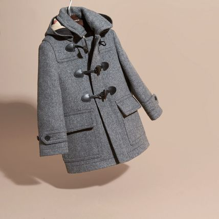 Casual Style Wool Plain Medium Duffle Coats