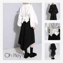 Casual Style Puffed Sleeves Street Style Plain