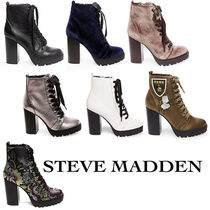 Steve Madden Flower Patterns Plain Toe Lace-up Casual Style Street Style