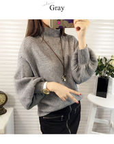 Plain High-Neck Puff Sleeves Sweaters