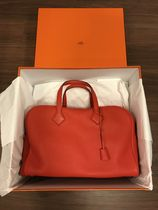 HERMES Victoria Plain Leather Totes