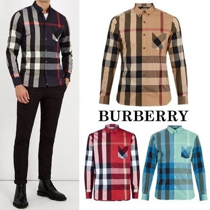 Burberry Shirts Button-down Other Plaid Patterns Long Sleeves Cotton Luxury